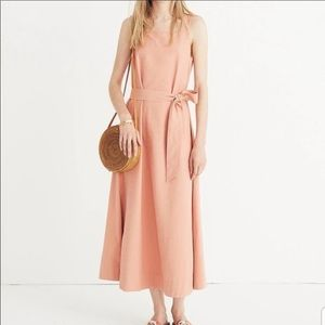 Madewell Apron Tie-Waist Coral Dress